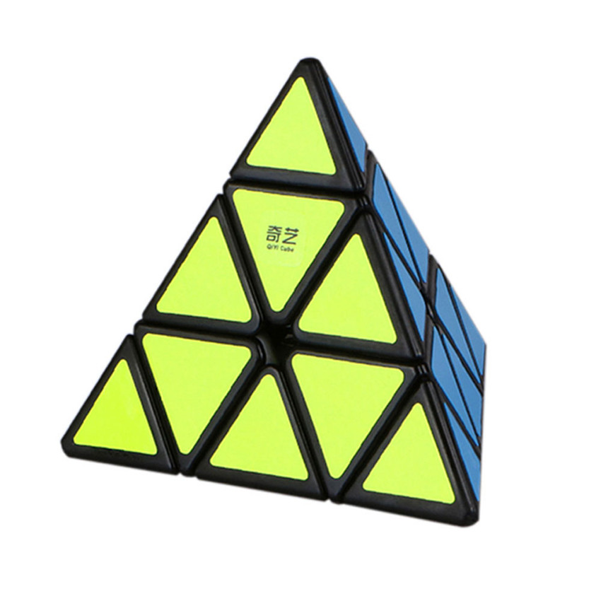 QiYi Pyraminx Magic Cube Black And White Original QiMing A Pyramid Plastic Puzzle Cube Kids Toys Professional Speed Cubo Magico qiyi megaminx magic cube stickerless speed professional 12 sides puzzle cubo magico educational toys for children megamind