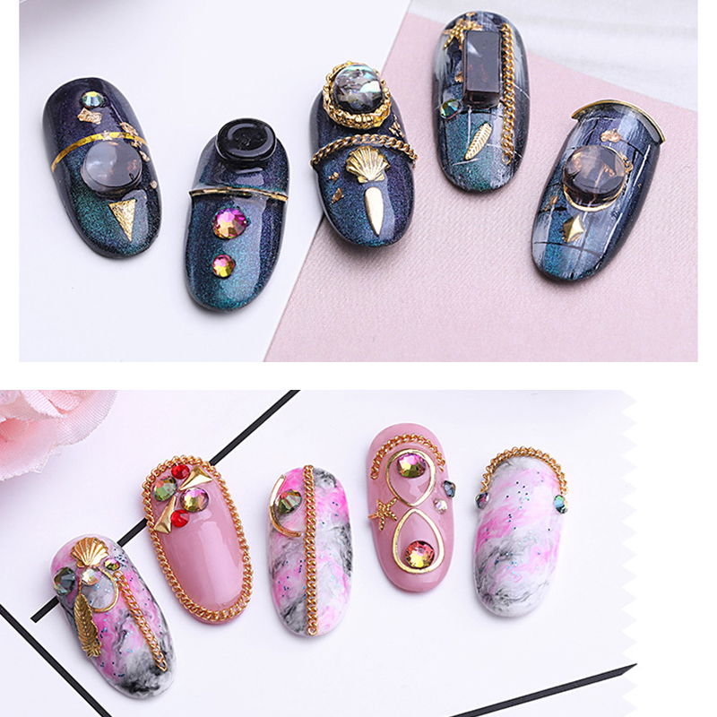 Colorful Silver Gold Color Metal Chain Nail Art Decorations Multi size Gold Metal Chain Line Alloy Nail Art Decoration in Rhinestones Decorations from Beauty Health