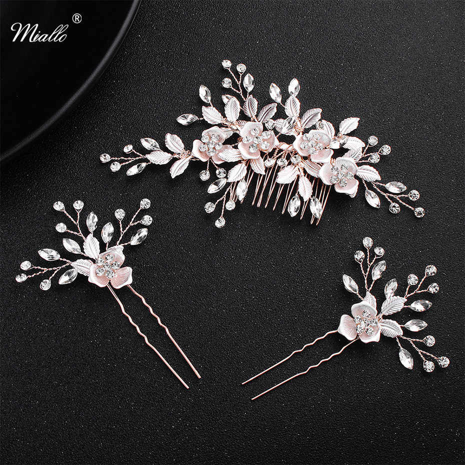 Miallo  Pink Flower Women Hair Comb + 2pcs Hairpins Handmade Wedding Hair Accessories Crystal Bridal Hairpieces Jewelry