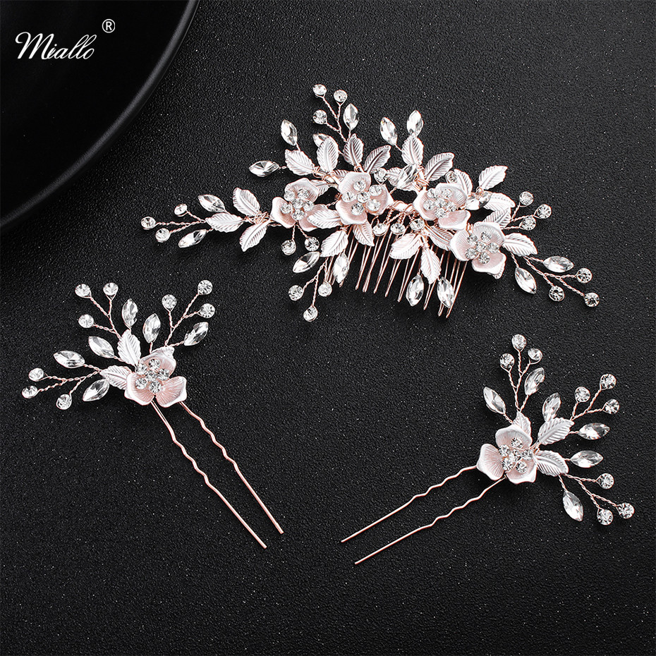 us $6.92 45% off|miallo pink flower women hair comb + 2pcs hairpins handmade wedding hair accessories crystal bridal hairpieces jewelry-in hair