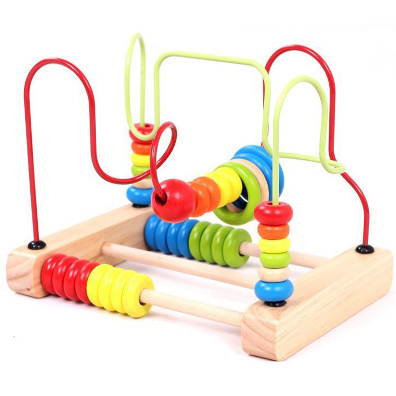 baby wooden toy around beads maze colorful educational toddler toys game children preschool toys