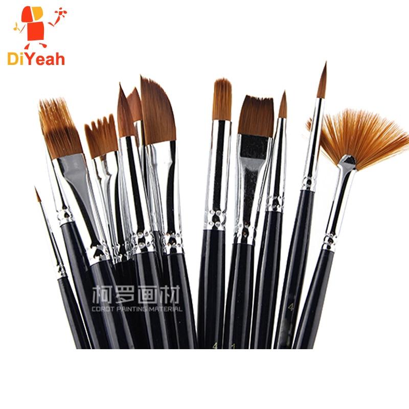 12 pcs pinceis de pintura facial profissional nailon cabelo pincel conjunto rosto pintura corpo maquiagem alca