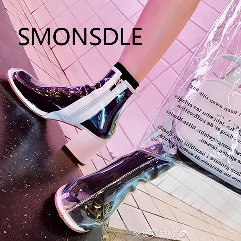 2018 Nuevas sandalias transparentes de las mujeres del PVC Talones - Zapatos de mujer
