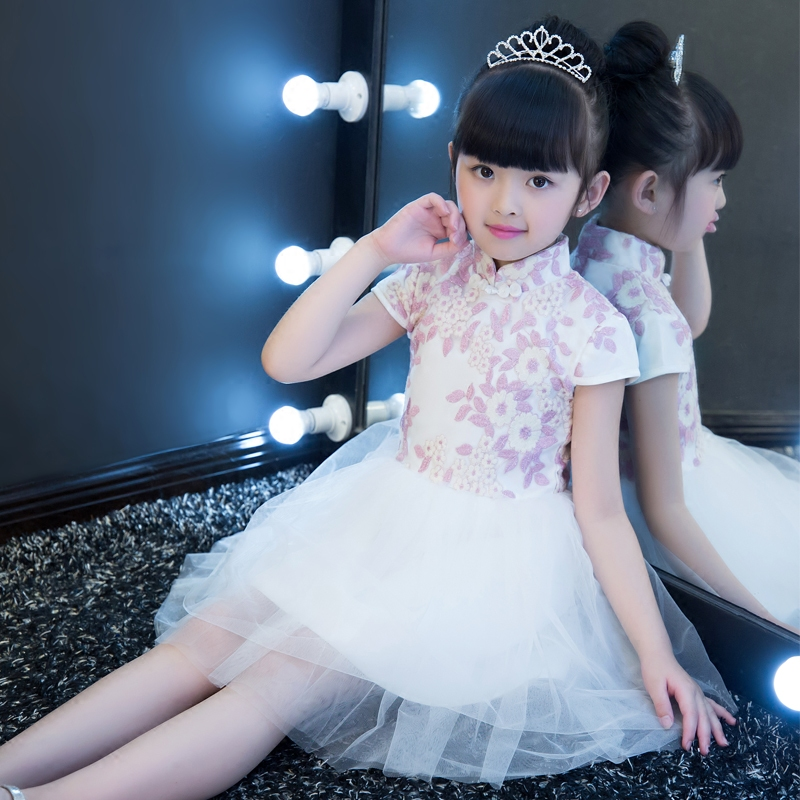 2017 New Korean Summer Girls Cheongsam Dresses Elegant Chinese Style Children's Dresses Embroidery Floral Kids Dresses for Girls korean style different flowers and plant of 50 chinese embroidery handmade art design book