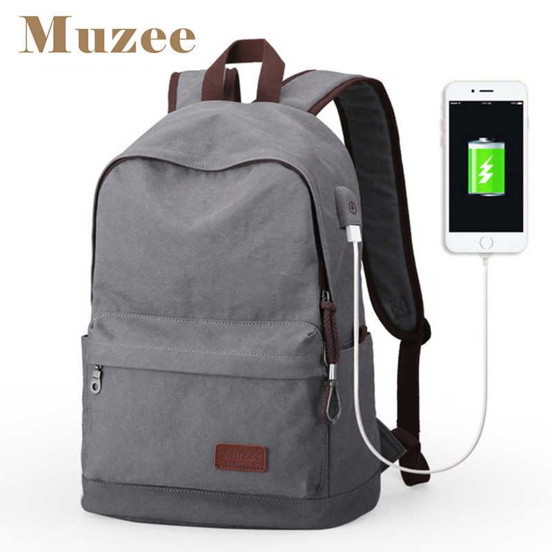 Muzee Canvas Men Backpack Large Capacity Backpack School Bags for Teenagers Laptop Backpack USB Charging Rucksack Male Mochila(China)