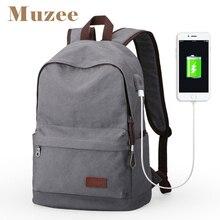 Muzee męski płócienny plecak plecak o dużej pojemności szkolne torby dla nastolatków plecak na laptopa USB do ładowania torby męskie Mochila