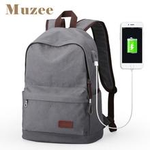 Muzee mochila de lona masculina, grande capacidade, bolsa escolar para adolescentes, laptop, mochila masculina com carregamento usb