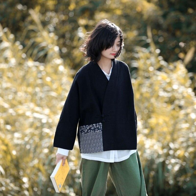 Style chinois vêtements femmes Hanfu 2019 printemps été rétro Vintage chemise ethnique thé Zen Blouse dames chinois hauts AA4476 - 3