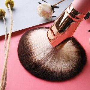 Image 4 - Professionelle 12 stücke set Rosa Make Up Pinsel Mit Goldenen Leder Tasche Hohe Qualität Make Up Tools Eye Make up Pinsel