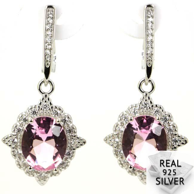 Real 6.2g 925 Solid Sterling Silver Gorgeous Pink Kunzite White CZ Woman's Present Earrings 37x17mm