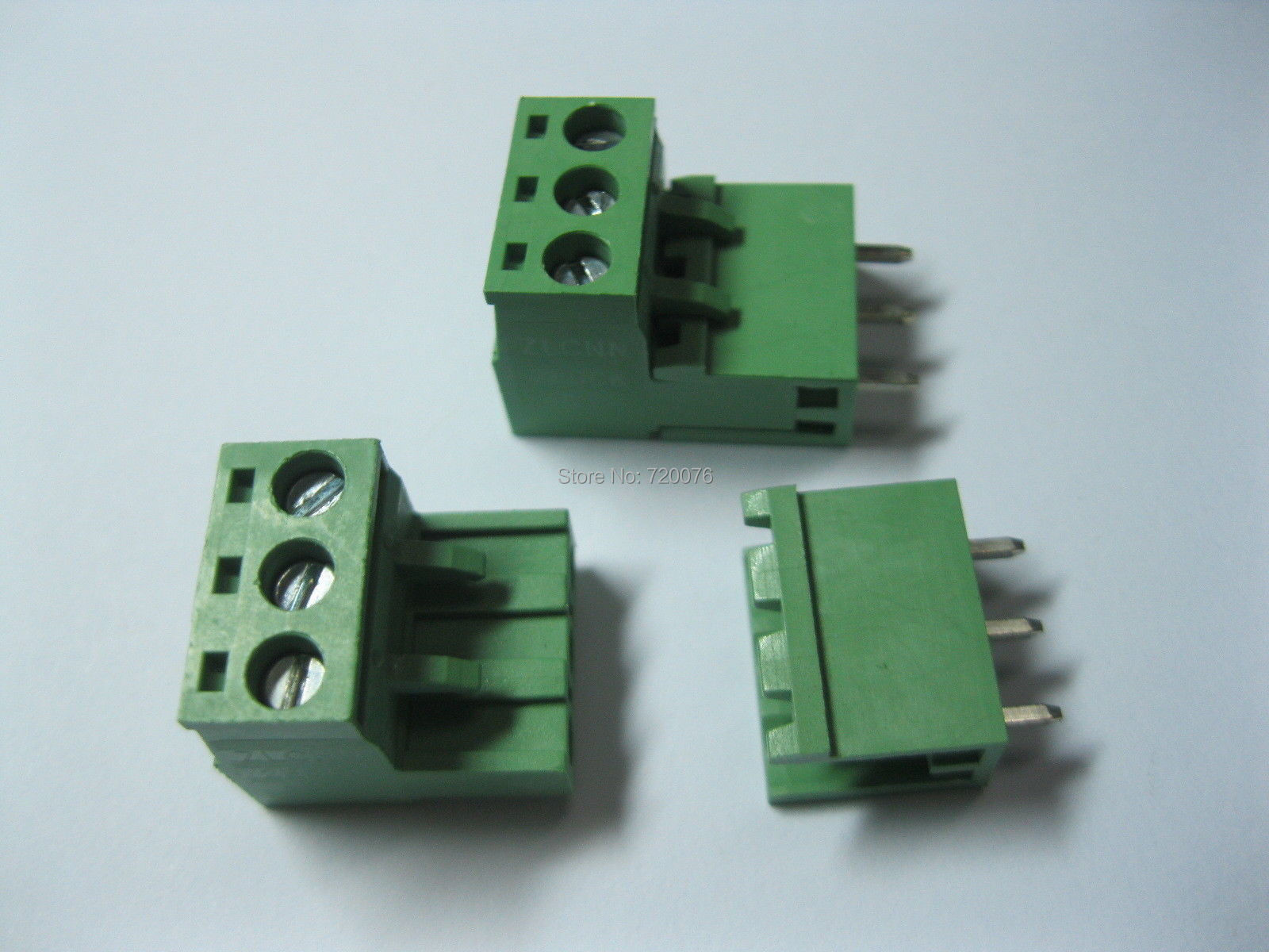 цена на 100 pcs Green 3 pin 5.08mm Screw Terminal Block Connector Pluggable Type