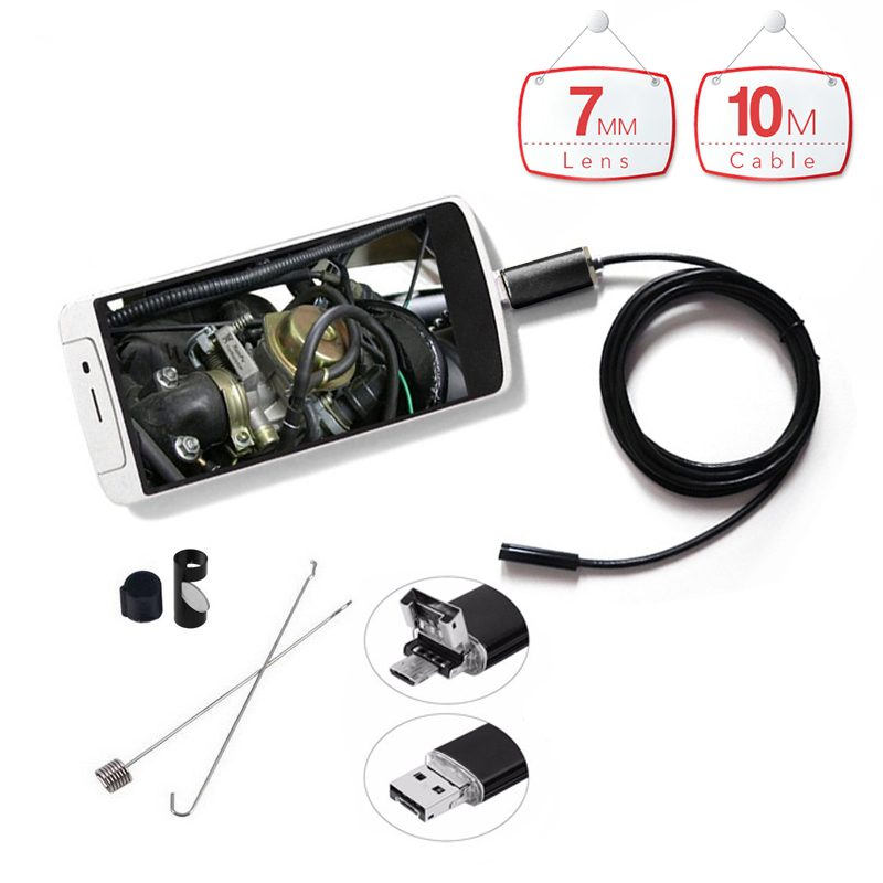 10m 2 in 1 Waterproof PC Android Endoscope 7mm 6LED Lens with HD Camera Inspection Borescope for Android Phone PC Tablet hd 8mm lens waterproof pc android endoscope with 1m 2m 3 5m 5m cable handheld inspection borescope for android phone pc tablet