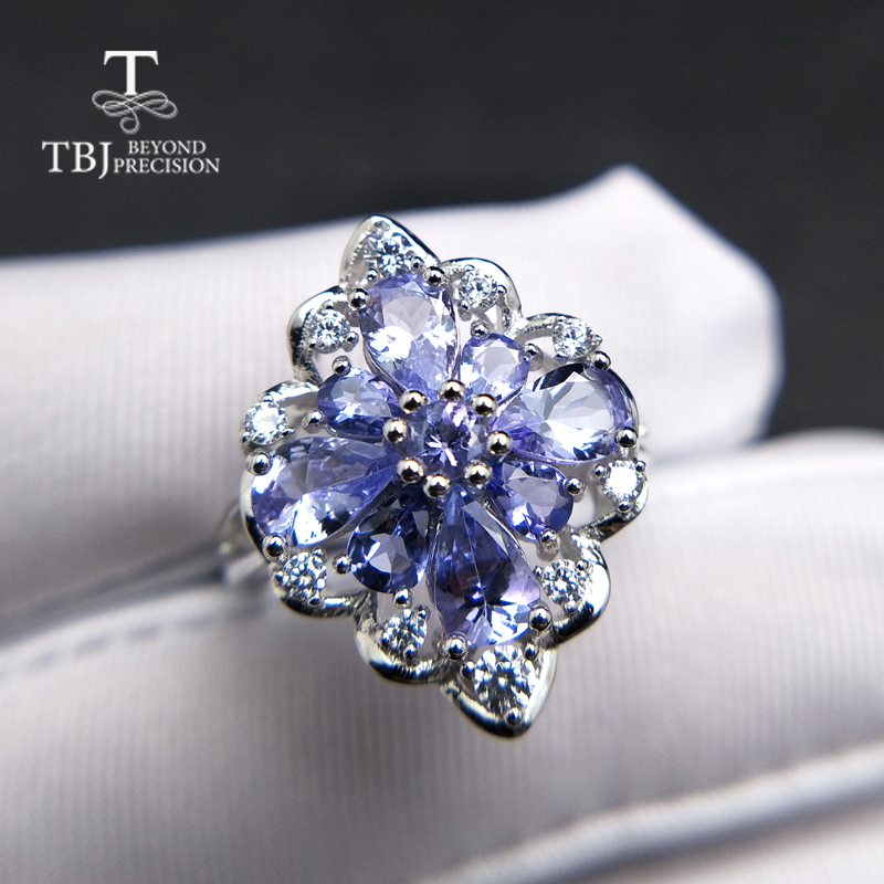 TBJ,natural tanzanite gemstone ring in 925 sterling silver luxury shiny precious stone jewelry for lady women mom wife as gift tbj delicate small ring with natural good color blue tanzanite gemstone lady ring in 925 sterling silver fine jewelry for women