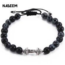 Men Gift New Arrival Alloy Metal Barbell & Snowflake Stone Bead Fashion Weave Braiding Adjustable Dumbbell Bracelets ND3388