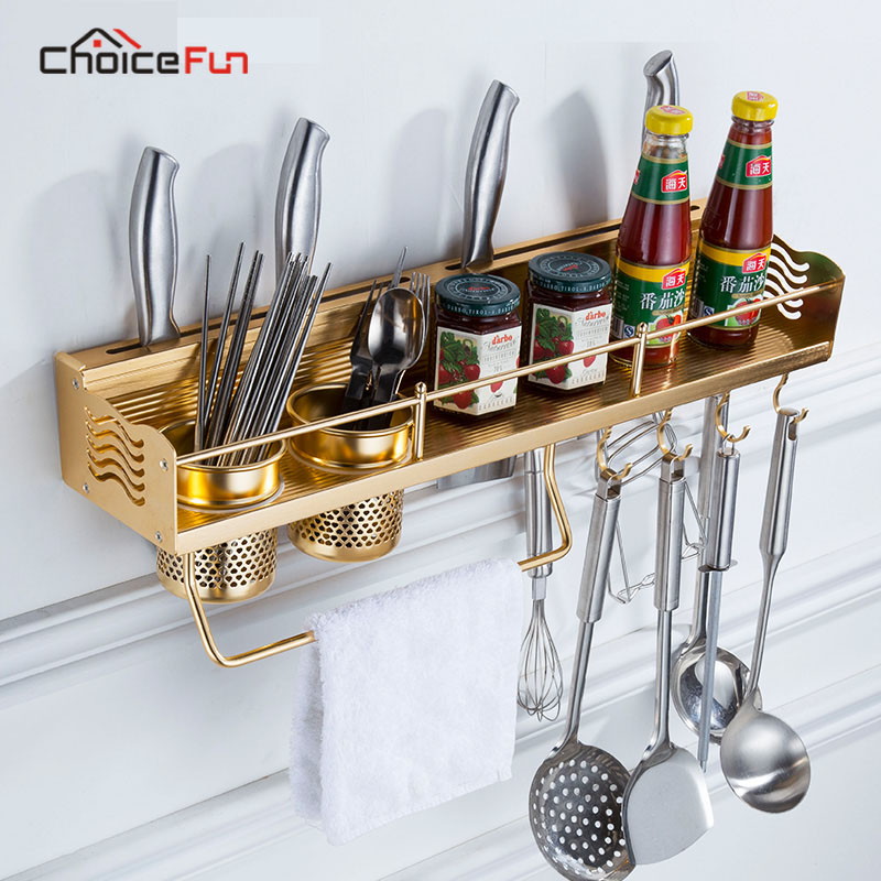 US $18.3 58% OFF|CHOICE FUN Wall Mounted Stainless Steel Gold Kitchen Shelf  And Organizer Holder Metal Hanging Kitchen Storage Rack For Utensils-in ...