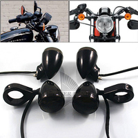 New Black Front Rear Motorcycle LED Turn Signal Amber Light 39mm Blinker Fork Clamp Smoke Lens