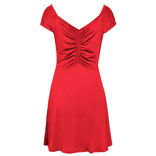 Fashion Women Short mini Dress Sleeveless V Neck Sexy Slim Party Dress Pleated Empire Waist A Line beach Dress LJ4865M 5