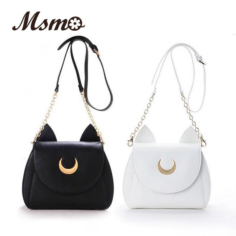 Blanco/Negro Sailor Moon Luna/Artemis Shoulder Bag Ladies Luna Gato Bolso de Cu