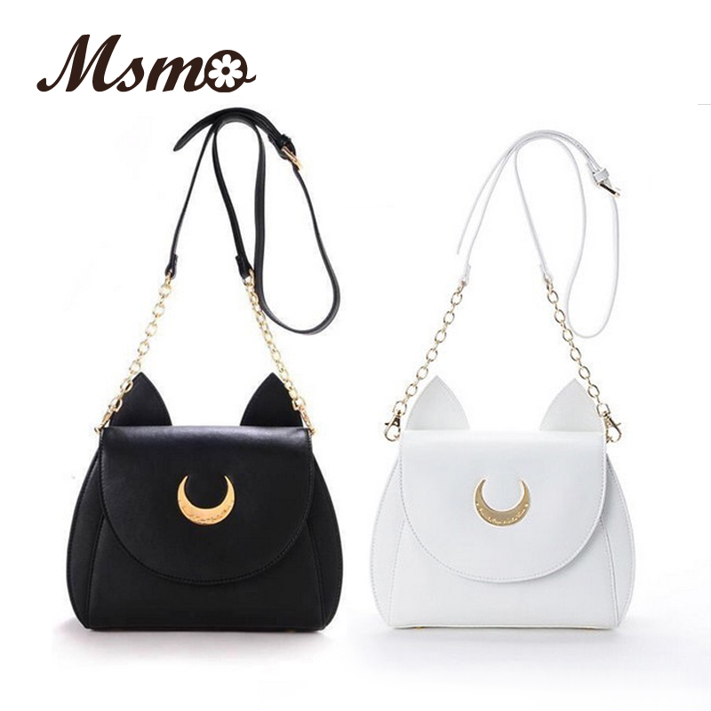 MSMO White / Black Sailor Moon Luna / Artemis Shoulder Bag Տիկնայք Luna Cat Կաշվե պայուսակ Կանացի մեսենջեր Crossbody Chain Small Bag