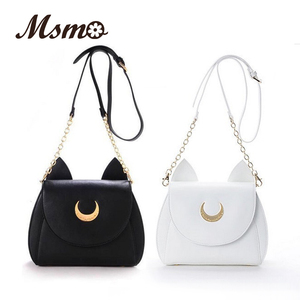 Image 1 - MSMO White/Black Sailor Moon Luna/Artemis Shoulder Bag Ladies Luna Cat Leather Handbag Women Messenger Crossbody Chain Small Bag
