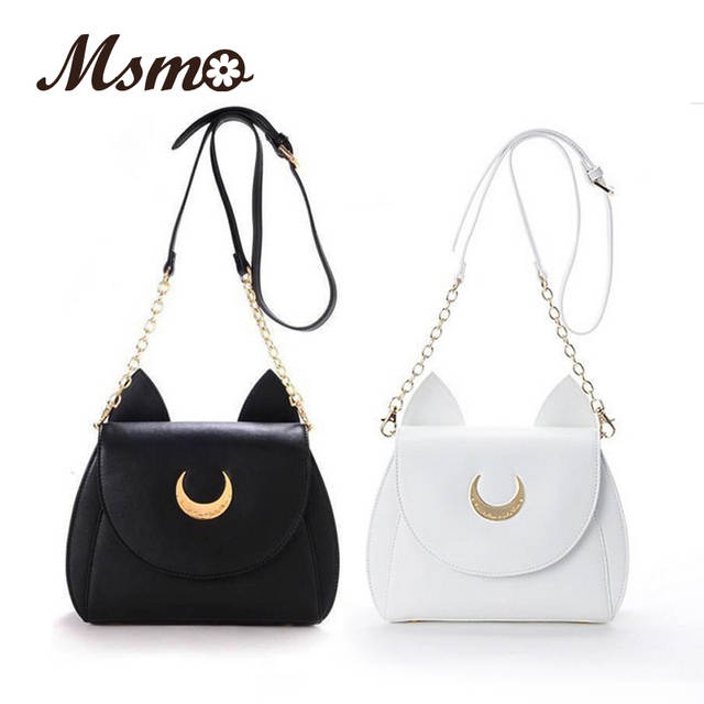 888e4d7826f4 Online Shop MSMO White Black Sailor Moon Luna Artemis Shoulder Bag Ladies  Luna Cat Leather Handbag Women Messenger Crossbody Chain Small Bag