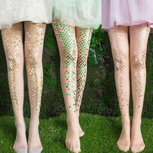 Neon Mermaid Tights Shiny Metallic Color Long Sequins Tights Halloween Pantyhose