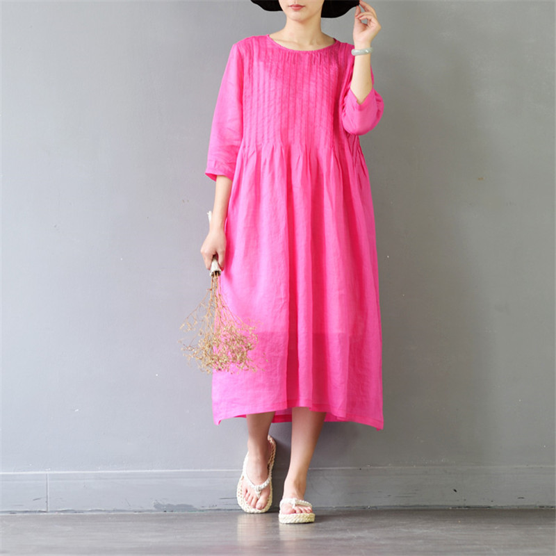 SCUWLINEN 2019 Women Summer Dress Solid Loose A-line Half-sleeve Thin Elegant 100% Ramie Dress Casual Beach Party Dress S400