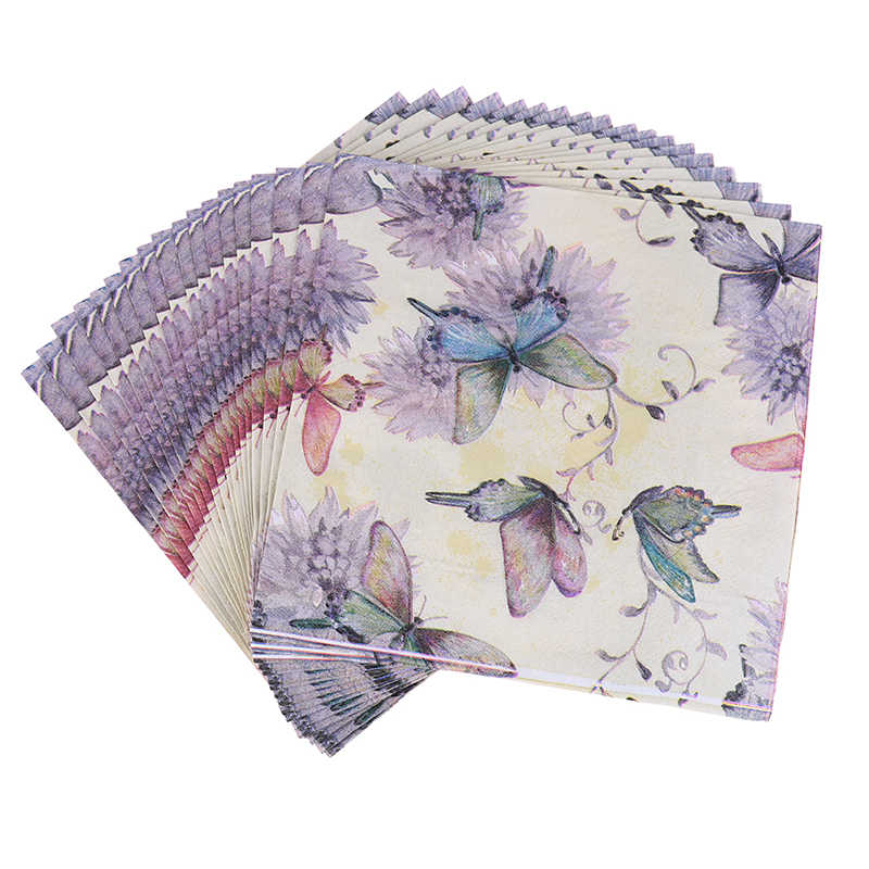 20pP/Set Soft Decoupage Butterfly Cow Flower and Bird Napkins Decor Festive & Party Paper Tissue Decoration 33cm*33cmt