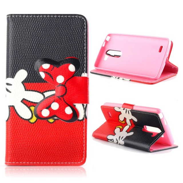 8c8eb122a0a Fashion Mickey Minnie Mouse Case For Fundas Carcasas LG G3 Stylus D690  D690N Luxury Cell Phone Leather Flip Cover Case Capa Para