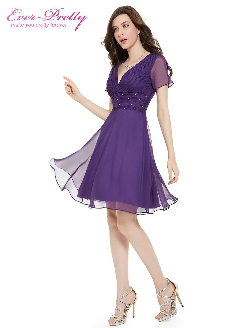 Short Sleeve V Neck Ruched Bust Chiffon Party Dress 14