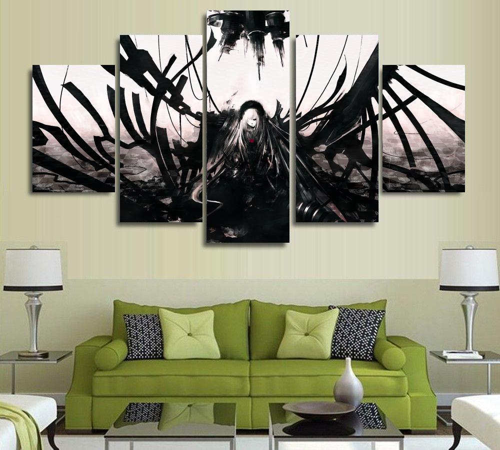 5 panels wall art anime angel black white dark 5 pieces paintings canvas poster unframed 9004
