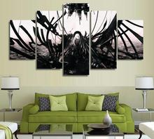 5 Panels Wall Art Anime Angel Black & White Dark 5 Pieces Paintings Canvas Poster Unframed 9004