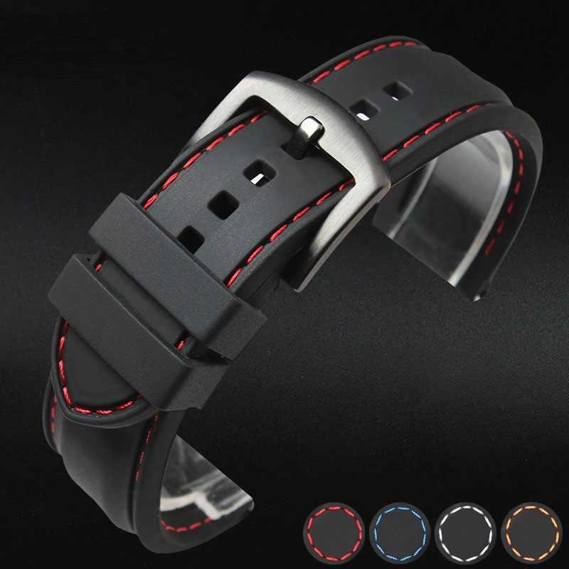 2019 באיכות גבוהה שעונים להקת סיליקון גומי רך רצועת השעון שעונים רצועת חגורת ספורט עמיד למים 18mm 20mm 22mm 24mm