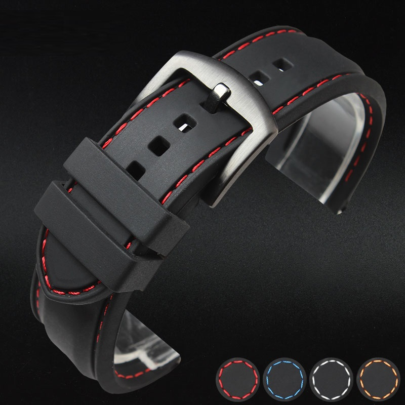 Silicone Watchband 22mm Band Watch  Accessories Strap 20mm 18mm Rubber  Bracelet Belt 24mm Waterproof 2019 High Quality