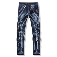 2016 New Famous Brand Balmai Jeans Men Cotton Luxury Designer Denim Pants Men Regular Ripped Holes