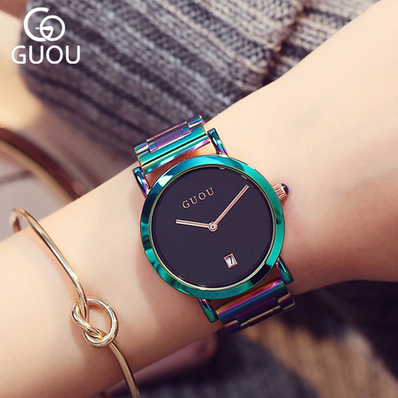Woman Black Quartz Bracelet Watch Full Colorfull Steel Fashion Women Watches Simple Auto Date Ladies WristWatch montre femme skone fashion simple watches for women lady quartz wristwatch stainless steel band watch for woman relogio femininos