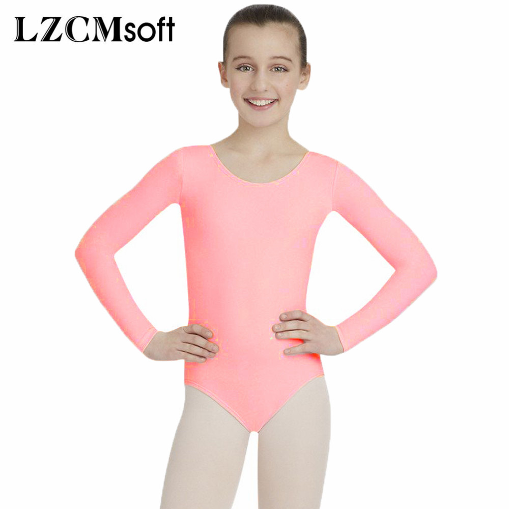 LZCMsoft Girls Pink Scoop Neck Ballet Leotards Todder Long Sleeve Gymnastics Leotards Short Unitard Dancewear Swimming Suits