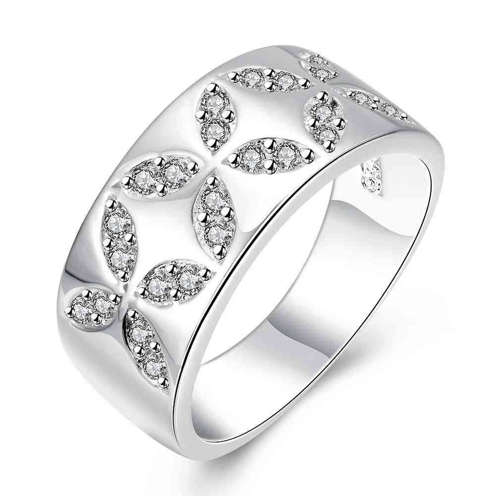 Free Shipping Fashion New Brand Design Luxurio Silver Rings Crystal Leaves  Men Ring Costume Jewellery Smtr788