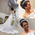 Lace Wedding Dresses With Long Sleeves A Line Floor Length Muslim Bridal Dress Long Wedding Gowns Robe De Mariage x5501