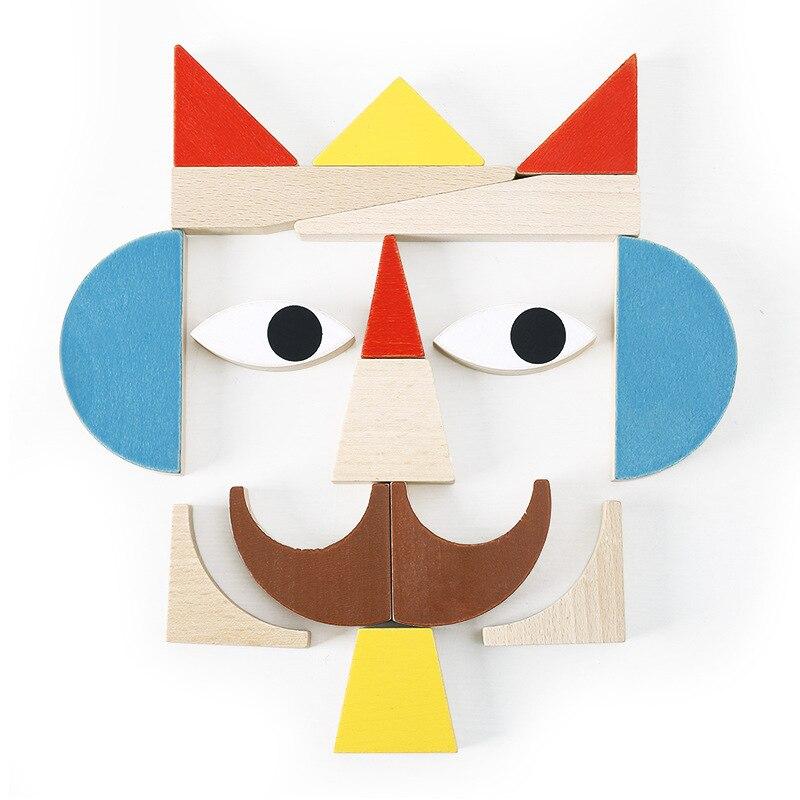 Montessori jouets formes drôles thème blocs de construction juguetes Montessori matériaux éducatifs en bois jouets pour enfants oyuncak