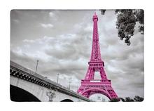 Floor Mat Retro Pink France paris Eiffel Tower Print Non-slip Rugs Carpets alfombra For Indoor Outdoor living kids room