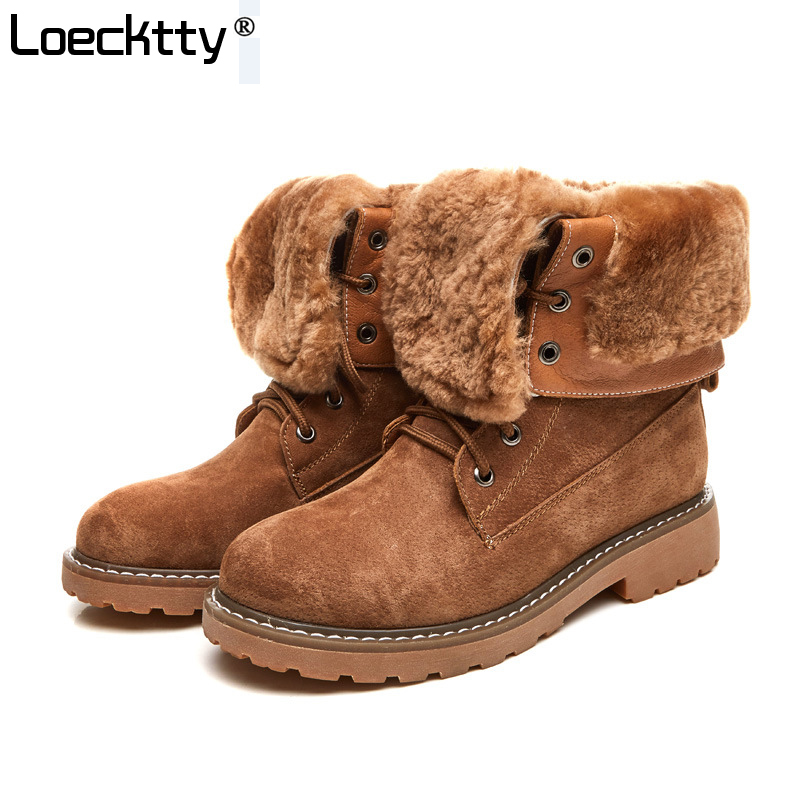 Loecktty 2019 Winter New Western Style Fashion Boots Leather Shoes Women Camel Lady Warm Shoe Cross