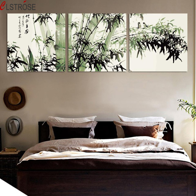 CLSTROSE bamboo canvas wall art landscape painting 3 pieces large bamboo wall picture for living room tableau decoration mural-in Painting u0026 Calligraphy ... & CLSTROSE bamboo canvas wall art landscape painting 3 pieces large ...