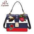 Классическая мода синий вышивка Би Роуз женские повседневные сумки дамы плеча сумки кошелек crossbody сумка лоскут