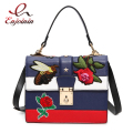 Classic fashion blue embroidery Bee Rose women's casual totes ladies handbag shoulder bag purse crossbody messenger bag flap