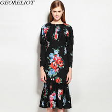 Brand Fashion Vintage Floral Runway Dresss 2017 New Autumn Winter Women Long Sleeve Bodycon Evening Party Dresses Vestidos Mujer