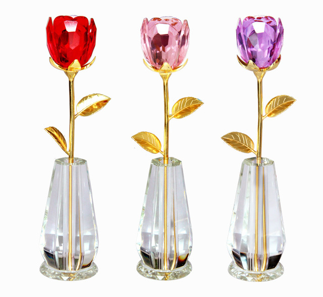 Beautiful Color Crystal Rose With Cute Vase Handmade Valentines Gift