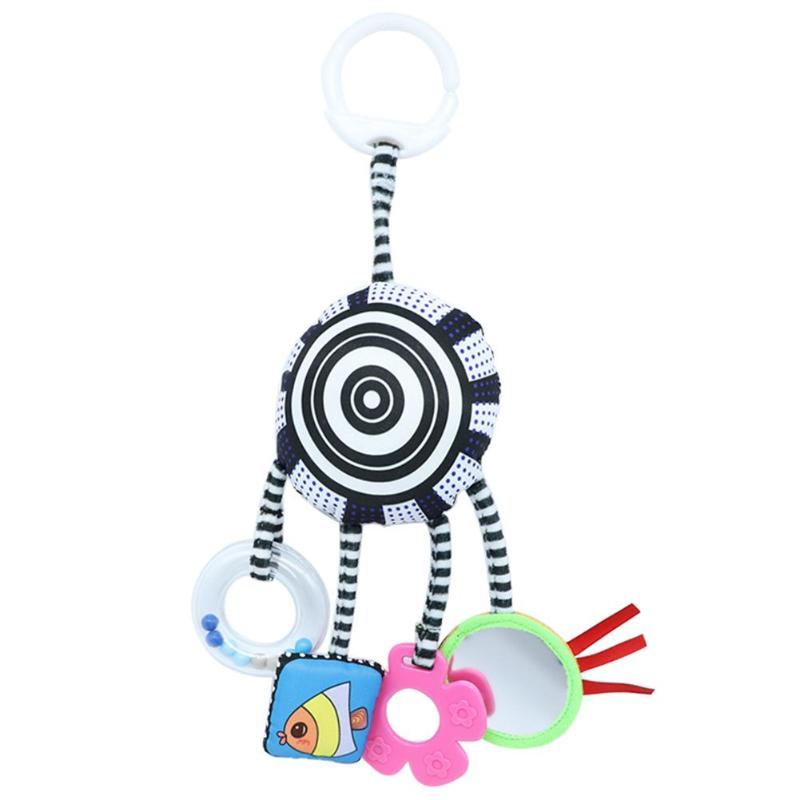 Cartoon Baby Rattles Toys Bed Stroller Accessory Mobile Hanging Plush Toys For Children Safety Mirror Ring Paper Baby Teether