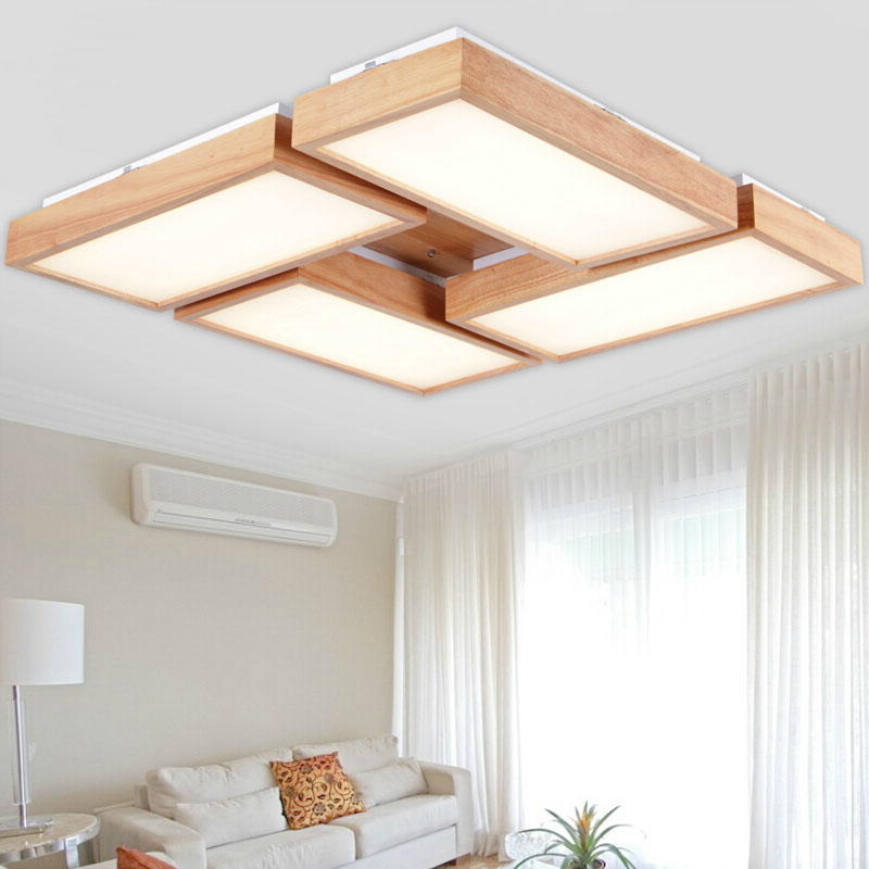 Modern square OAK acrylic led ceiling lights lamp home deco living room foyer deckenleuchten wood ceiling light fixtures three dimensional 3d visual reading lights wood acrylic clear small lamp button type led stereo night light folding book lights