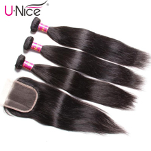 "UNice Hair Icenu Series Malaysian Straight Hair Bundles with Closure 8-30"" Remy Human Hair Extension Bundles With Closure 4PCS  (China)"